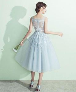 Gray A-Line Tulle Lace Short Prom Dress, Gray Evening Dress - DelaFur Wholesale