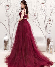 Load image into Gallery viewer, Burgundy Tulle Long Prom Dress, Formal Dress - DelaFur Wholesale