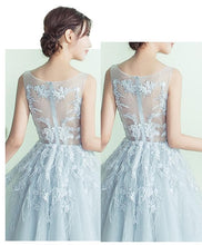 Load image into Gallery viewer, Gray A-Line Tulle Lace Short Prom Dress, Gray Evening Dress - DelaFur Wholesale