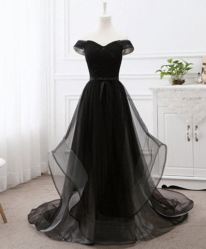 Black Tulle Long Prom Dress, Black Evening Gdress - DelaFur Wholesale