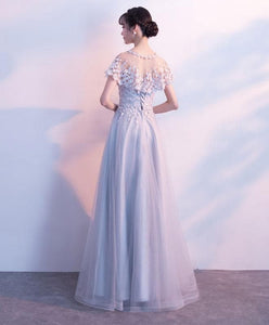 Unique Gray Tulle Long Prom Dress, Lace Evening Dress - DelaFur Wholesale