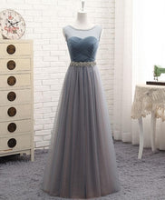Load image into Gallery viewer, Gray Round Neck Tulle Prom Dress, Gray Evening Dress - DelaFur Wholesale