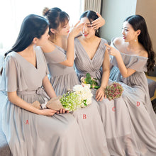 Load image into Gallery viewer, Gray Chiffon Long Prom Dress, Bridesmaid Dress - DelaFur Wholesale