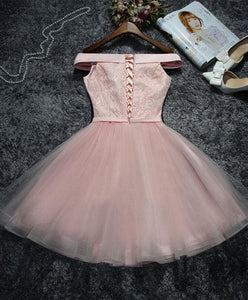 Cute Pink Lace Tulle Short Prom Dress, Homecoming Dress - DelaFur Wholesale