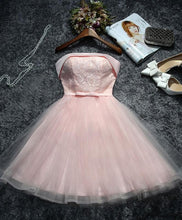 Load image into Gallery viewer, Cute Pink Lace Tulle Short Prom Dress, Homecoming Dress - DelaFur Wholesale