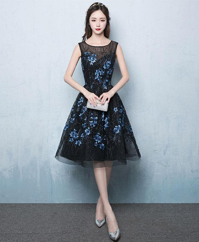 Black Short Prom Dress, Black Evening Dress - DelaFur Wholesale