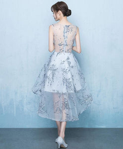 Gray High Low Short Prom Dress, Gray Evening Dress - DelaFur Wholesale