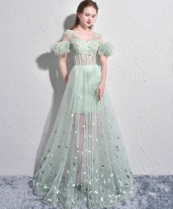 Unique Green Tulle V Neck Long Prom Dress, Green Evening Dress - DelaFur Wholesale