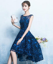 Load image into Gallery viewer, Dark Blue High Low Short Prom Dress, Lace Evening Dress - SpreePicky FreeShipping