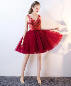 Cute Tulle Lace V Neck Short Prom Dress, Homecoming Dress - DelaFur Wholesale