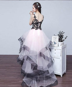 Cute V Neck High Low Tulle Prom Dress, Lace Evening Dress - DelaFur Wholesale