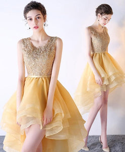Gold Lace Tulle High Low Prom Dress, Homecoming Dress - DelaFur Wholesale