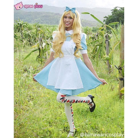 M/L [Alice In Wonderland] Blue Maid Dress With Apron Cosplay Costume SP141195 - SpreePicky  - 2