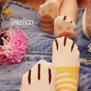 Grey/Yellow Kawaii Neko Cat Socks SP167141