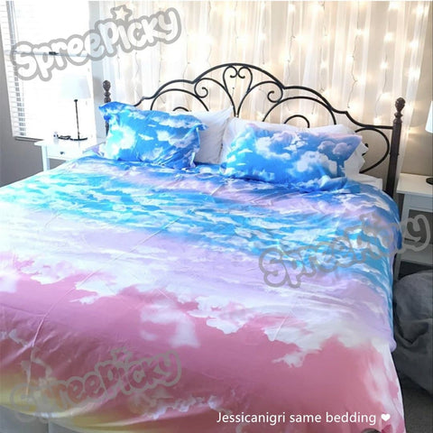 Sunset Sky Heaven Pastel Cloud Bedding Set SP168313