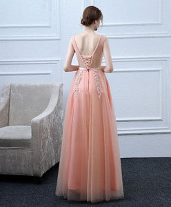 Pink V Neck Tulle Lace Long Prom Dress, Lace Evening Dress - DelaFur Wholesale