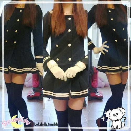J-fashion Winter Sailor Woolen Coat SP130284 - SpreePicky  - 1