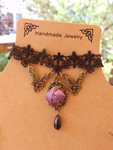 Vintage-style Rose Lace Necklace SP140565 - SpreePicky  - 5