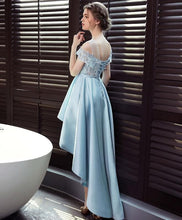 Load image into Gallery viewer, Light Blue Satin Lace Prom Dress, Evening Dress - DelaFur Wholesale