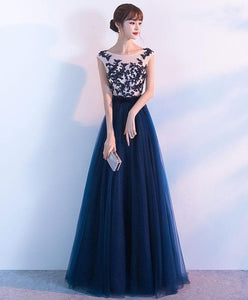 Elegant Dark Blue Tulle Lace Long Prom Dress, Blue Evening Dress - DelaFur Wholesale