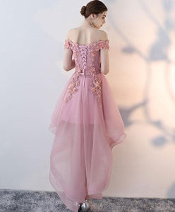 Pink Lace High Low Prom Dress, Homecoming Dress - DelaFur Wholesale