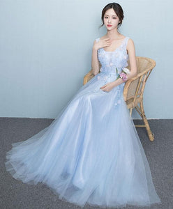 Light Blue V Neck Lace Long Prom Dress, Evening Dress - DelaFur Wholesale