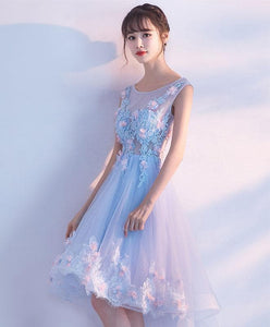 Light Blue Lace High Low Prom Dress, Homecoming Dress - DelaFur Wholesale