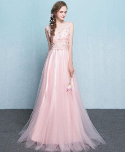 Pink Lace See Through Long Prom Dress, Pink Evening Dress - DelaFur Wholesale