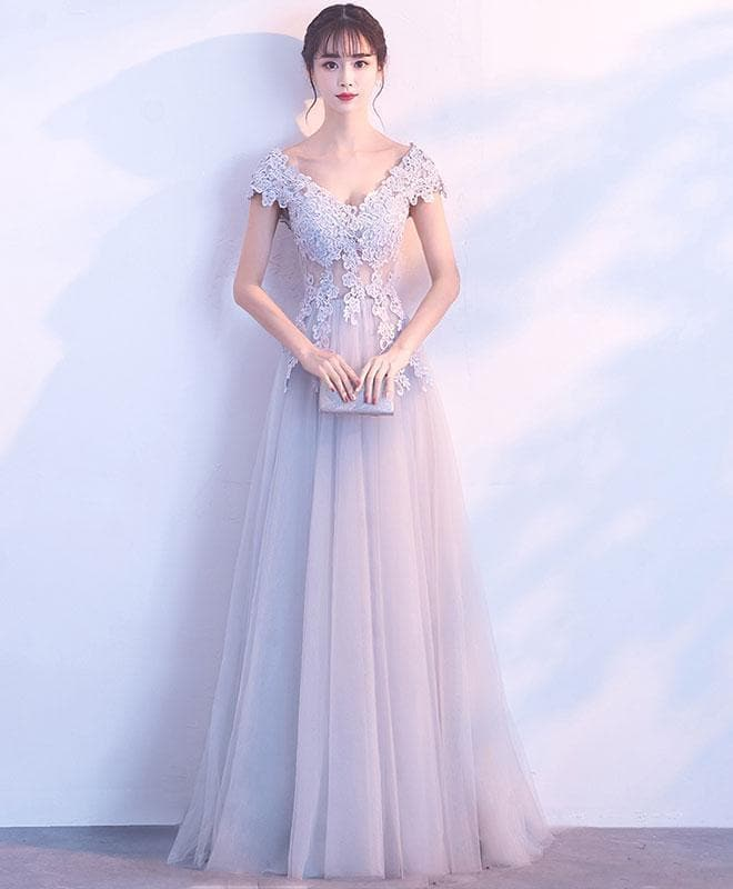 Gray V Neck Tulle Lace Long Prom Dress, Gray Evening Dress - DelaFur Wholesale