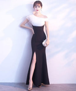 White And Black Long Prom Dress, Mermaid Evening Dress - DelaFur Wholesale
