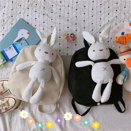 Black/White Kawaii Canvas Bunny Backpack SP14495