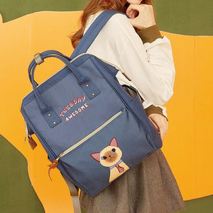 Cute Kitty Week Letter Print Backpack Schoolbag SS0984