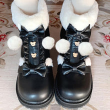 Load image into Gallery viewer, Bear Bow Fuzzy Ball Lolita Snow Boots SP15496
