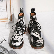 Load image into Gallery viewer, Retro Cute Cow Lace Up Martin Boots SS0883