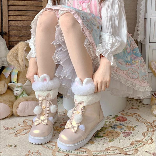 Bear Bow Fuzzy Ball Lolita Snow Boots SP15496