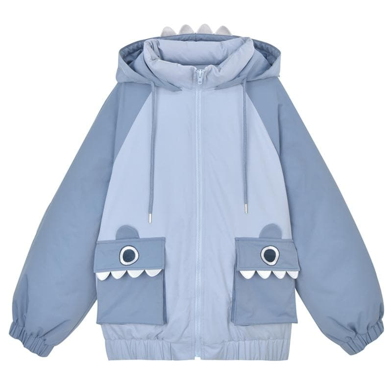Shark Eyes Embroidery Pocket Hooded Coat SP15289