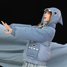 Load image into Gallery viewer, Shark Eyes Embroidery Pocket Hooded Coat SP15289