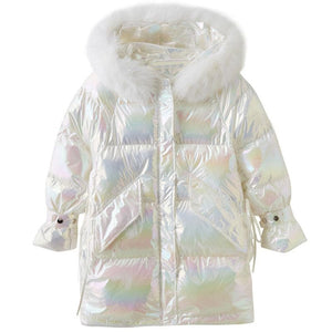 Rainbow Reflective Hooded Down Coat SP15460