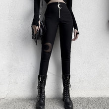 Load image into Gallery viewer, Gothic Moon Zipper Skinny Pants High Waist SP14900