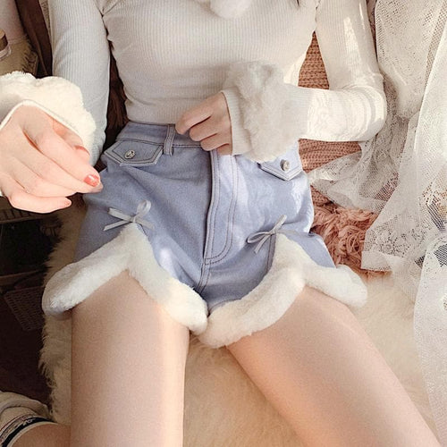 Sweet Cute Slit Bow Plush Button Shorts SP15701