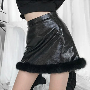 Leather Plush A-line Short Skirt SE0659