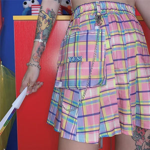 Plaid Chain Pocket High Waist Pleated Short Skirt SP14967