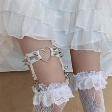 Load image into Gallery viewer, Lolita Lace Stockings Love Heart Rivet Leg Ring SP15716