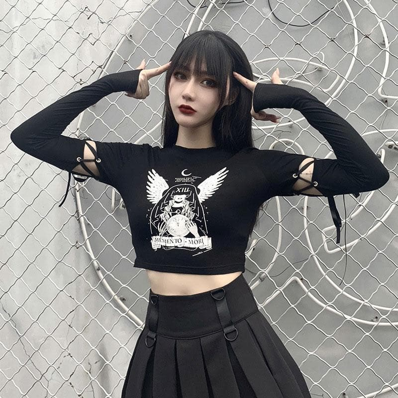Angel Wings Print Lace Up Crop Top Sweatshirt SP15244
