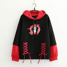 Load image into Gallery viewer, Warm Bunny Print Lace Up Hoodie SP15359