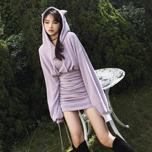 Load image into Gallery viewer, Letter Embroidery Cute Cat Ears Drawstring Hoodie Dress SP15498