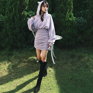 Letter Embroidery Cute Cat Ears Drawstring Hoodie Dress SP15498