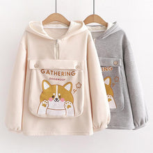 Load image into Gallery viewer, Dog Letter Print Ears Pocket Zipper Sweatshirt SP15557