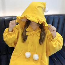 Load image into Gallery viewer, Yellow/Red Fluffy Ball Ruffle Hoodie Jumper