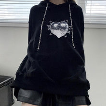 Load image into Gallery viewer, Gothic Love Heart Print Cross Drawstring Hoodie SP134